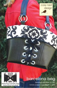 Biker Style: The Barcelona Bag - PDF Sewing Pattern by Cozy Nest Designs --- looks more like BDSM style, but I like how it looks ; Handbag Patterns, Bag Patterns To Sew, Tote Pattern, Pdf Sewing Patterns, Sewing Ideas, Sewing Projects, Paper Patterns, Craft Patterns, Nest Design