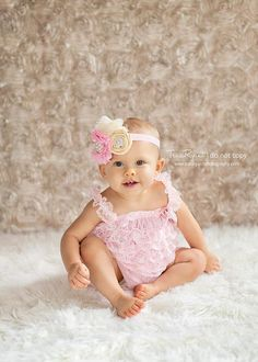 Cream, light pink and gold fancy headband, newborn headband, infant headband, baby bow, cute baby bow. $15.50, via Etsy.