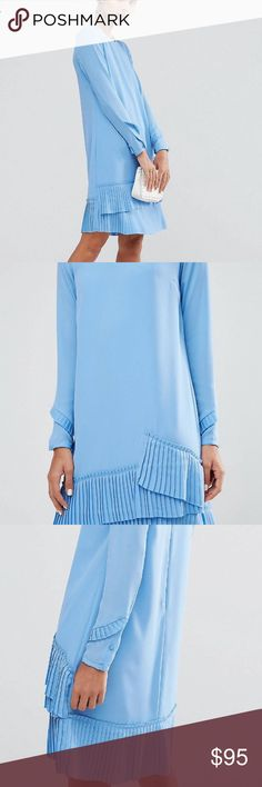 Super beautiful blue ruffle pleated dress Super beautiful blue ruffle pleated dress- in like new condition! ASOS Dresses Long Sleeve