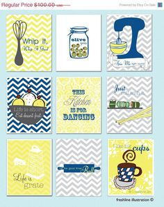 SALE  30 OFF Kitchen Wall Art Set  Custom Kitchen Art by Freshline, $70.00