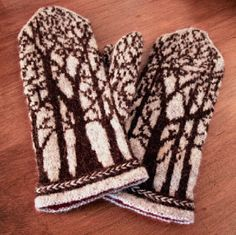 """Love these mittens. """"Deep in the Forest Mittens. Pattern available on Ravelry. Mittens Pattern, Knit Mittens, Knitted Gloves, Knitting Socks, Hand Knitting, Knitting Charts, Knitting Patterns, Crochet Patterns, Wrist Warmers"""