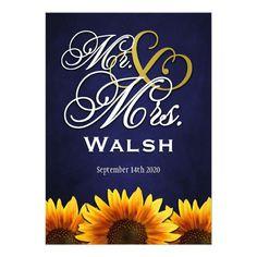 Mr and Mrs Blue Sunflower Wedding Invitations