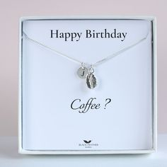 Beautiful dainty Coffe Bean Necklace Sterling Silver coffee bean for any coffee connoisseur. Comes with a keepsake card Happy Birthday, Coffee? Happy Birthday Coffee, Personalized Birthday Gifts, Feather Jewelry, Coffee Lover Gifts, Gifts For Coworkers, Beautiful Gift Boxes, Personalized Necklace, Meaningful Gifts, Sister Gifts
