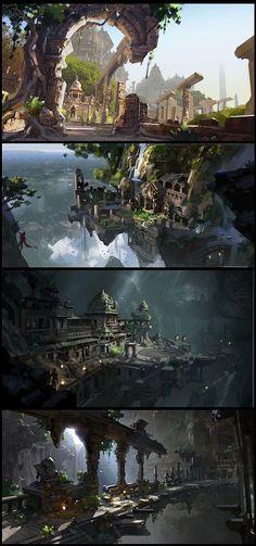 53 trendy Ideas for concept art house fantasy rpg Fantasy City, Fantasy Places, Fantasy Kunst, Fantasy World, Dark Fantasy, Fantasy Rpg, Landscape Concept, Fantasy Landscape, Landscape Art