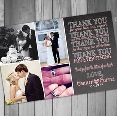 I want to make these into magnets!!!  Thank You Card Photo Chalkboard Photo Thank You by CLaceyDesign, $15.00