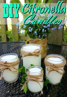 Homemade Citronella Candles - Say farewell to mosquitoes! These DIY Citronella candles are a fantastic natural mosquito repellent, make a great gift and work fantastic! - Crafts Diy Home Homemade Candles, Diy Candles, Natural Candles, Making Candles, Scented Candles, Potpourri, Natural Mosquito Repellant, Diy Mosquito Repellent, Bug Repellent Candles
