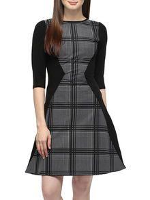 Black Checkered Jersey Dress