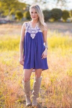 Stay Classy Crochet Lace Dress (Navy)