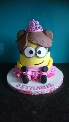 Princess Minion with tiara birthday cake