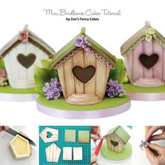 Learn to make these Mini Birdhouse Cakes in our April Issue, with a step-by-step guide Cake Decorating Tutorials, Cookie Decorating, Mini Cakes Tutorial, Fondant Cakes, Cupcake Cakes, Zoes Fancy Cakes, Super Torte, Chocolate Butterflies, Dessert Restaurants
