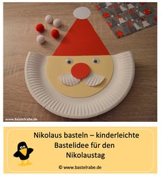 Nikolaus basteln Crafting Nicholas – DIY / crafting idea for children – In this crafting idea, the crafting raven shows. Baby Crafts, Toddler Crafts, Diy And Crafts, Paper Plate Crafts, Paper Plates, Paper Games For Kids, Winter Crafts For Toddlers, Reindeer Craft, Adhd Kids