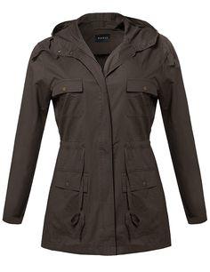 9d9c424f51b Amazon.com  Plus4u Women s Essential Lightweight Hooded Utility Jacket   Clothing