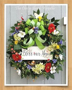 Wildflower Wreath, Spring Wreath, Summer Wreath, Bless Our Home, Grapevine, Designer Wreath,  Mother's Day Gift, Poppies and Hydrangeas