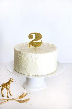 Gold Glitter Number Cake Topper