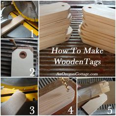 A tutorial on making your own wooden tags from scrap wood or inexpensive pine. After making the plain wood tags, all that's left is choosing one of the three ways to finish them. Of course, you can also throw caution to the wind and try all three! Woodworking Workshop, Woodworking Jigs, Woodworking Projects, Woodworking Furniture, Woodworking Organization, Woodworking Quotes, Woodworking Techniques, Woodworking Supplies, Woodworking Classes