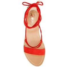Vince Camuto lace-up flat sandals (4.223.665 VND) ❤ liked on Polyvore featuring shoes, sandals, flats, suede shoes, red sandals, vince camuto sandals, lace up shoes and suede sandals