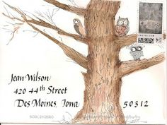 great envelope addressed to Jean Wilson in Des Moines. tree and owls..