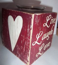 Votive Candle Holder Painted Wood Block Burgundy Live Laugh Love Distressed Rustic OOAK on Etsy, $11.00
