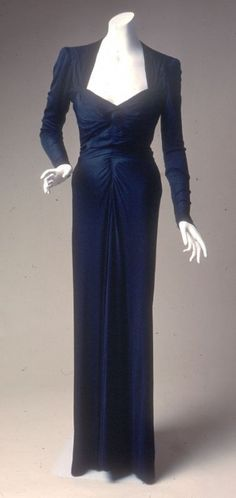 1939 Silk Jersey, Crepe De Chine, and Sequins Evening Dress made by I. Magnin Custom.