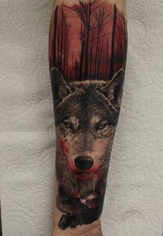 Wolf tattoo by Ashley Higham at Rapture Tattoo Studio