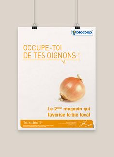 Biocoop Slow Food, Communication, Ads, French, Poster Designs, French People, French Language, Communication Illustrations, France