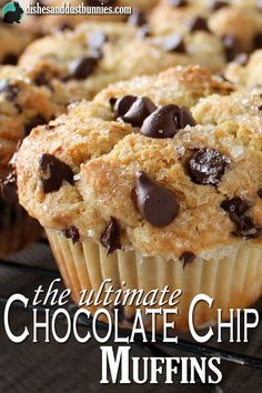 These fluffy chocolate chip muffins are perfect for satisfying your craving for yumminess! They are moist and soft and have just the perfect amount of muffin top puffed upness (I don't think that's a (Fluffy Chocolate Muffins) Just Desserts, Dessert Recipes, Little Muffins, Yummy Treats, Yummy Food, Kolaci I Torte, Cookies, Muffin Recipes, Best Muffin Recipe