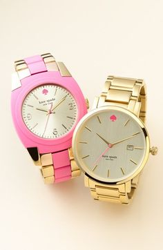 Can't decide. Pop of pink or classic gold? kate spade new york watches
