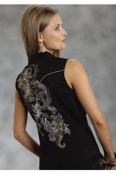 Women's Black Roper Scroll Screen Prnt With 1point Yk 100 Ctn Ol Western Clothing $50