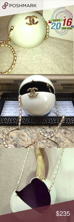 """2016 New Pearl VIP Bag ChanelVIPLIMITEDDubai 2016 White Pearl Ball Evening Bag / Clutch  Black velvet interior with elastic sides Original box. Dimensions 5.5"""" diameter 22"""" strap drop  ****************Brand New & 100% Authentic********************  *Not available for sale in boutiques.  This is a gift for customers of Chanel products. It is made for exclusive distribution by Chanel to its customers. CHANEL Bags"""
