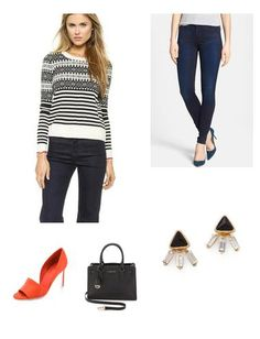 Love this casual and chic look. The heels add pop of color otherwise very classic, stylish look. Wear this for casual work outfit, weekend, or even a date night out.