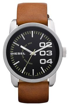 DIESEL® 'Franchise' Leather Strap Watch, 46mm