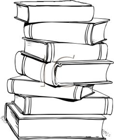 stack of books clip art | of Books Clip Art Image - black and ...