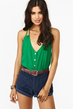 Button Up Tank in Green