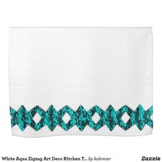 White Aqua Zigzag Art Deco Kitchen Towels