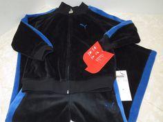 Boys PUMA Track Jacket & Pant Set Outfit Blue Black Velour Sz 4T New Fall School #PUMA #Everyday