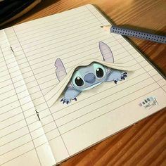 Stitch Dessin ✏ - Real Tutorial and Ideas Easy Disney Drawings, Disney Character Drawings, Cool Art Drawings, Disney Sketches, Pencil Art Drawings, Art Drawings Sketches, Kawaii Drawings, Cartoon Drawings, Easy Drawings