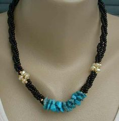 Twisted Turquoise Baroque Pearls Black Bead Multi strand Necklace