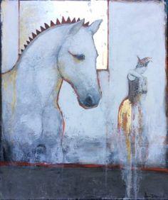 LEGENDRE ÉQUESTRE - Joan Dumouchel - 48'' x 40'' - technique mixte sur toile