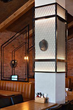 Fedrik-Restaurant Bar in Modiin design by Leticia Design Retail Interior, Restaurant Interior Design, Office Interior Design, Column Design, Bar Design, House Design, Architecture Restaurant, Interior Architecture, Decoration Restaurant
