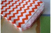 Medium THIN Chevron ORANGE Stripe Paper Bags - 5 x 7.5 -  Set of 20