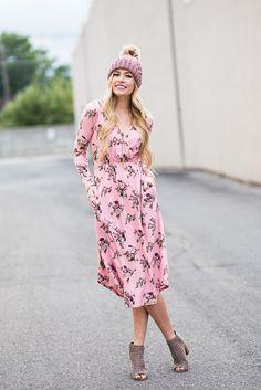 d8aa5d8b747b Blush Floral Wrap Dress Womens Boutique Dresses, Boutique Clothing, Modest  Bridesmaid Dresses, Modest