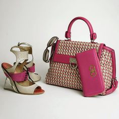 Ferragamo women's lucite invisible wedges, woven leather Sofia handbag, pink textured leather wallet with Gancino hardware and tinted sunglasses.