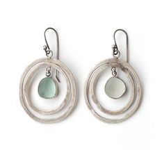 Sea Foam Sea Glass Hoop Earrings by Tania Covo