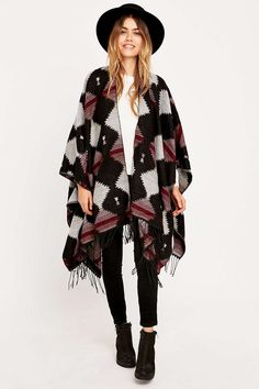 Western Blanket Cape - Urban Outfitters