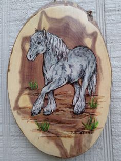 grey  horse  woodburning  plaque pyrography by ADragonflysFancy, $10.00