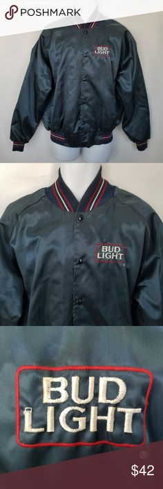 """Vintage Bud Light Satin Bomber Jacket Mens Large Vintage Bud Light satin bomber jacket *Official Product* Made in the USA Size: Men's Large There are a few scattered pulls, one in front (see photos), and I can find one small faint spot on the front Measurements (taken flat):  Chest (underarm to underarm): 26"""" Top of shoulder to bottom hem (top): 27"""" Anheuser Busch Jackets & Coats Bomber & Varsity"""
