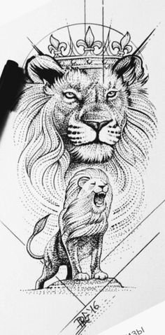 Lion Tattoo With Crown, Lion Head Tattoos, Tatoos, Shiva Art, Lions, Tattoo Designs, Dragon, Manga, Drawings