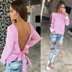 2017 Summer Long Sleeve Women Sexy Tops V Shape Backless Cut Out Shirt Striped Roupas Femininas Ropa Mujer Pink Blouse Blusas T-shirt Dos Nu, Sexy Bluse, Backless Shirt, Diy Vetement, Summer Blouses, Summer Shirts, Summer Outfits Women, Looks Cool, Casual Tops