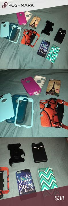 iPhone 5/5s cases cases and an otter box  pocket clip. All in pretty nice shape! The basketball one is like brand new, I have a separate listing for it!!! No scratches. The otter boxes are in great shape. The pink one is broke on the bottom pink plastic part, but you can even tell. The cat is from Aeropostale. It's rubber. And really bendy Accessories Phone Cases
