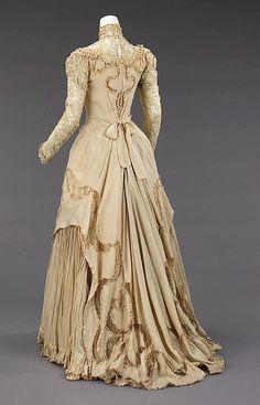 Silk and linen evening dress (back) by Herbert Luey, American, ca. 1890.